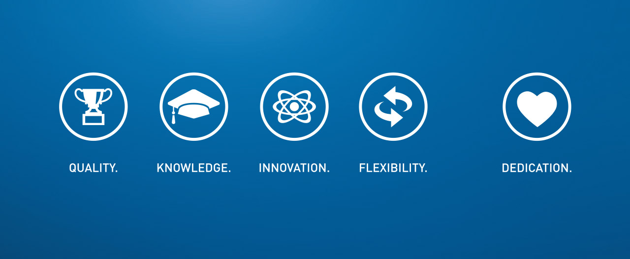 QUALITY.KNOWLEDGE.INNOVATION.FLEXIBILITY.DEDICATION.